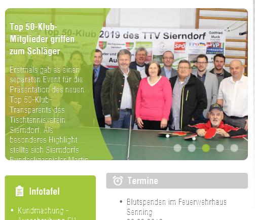 Auf www.sierndorf.at konnten wir ebenfalls über unseren Top 50-Klub 2019 berichten.