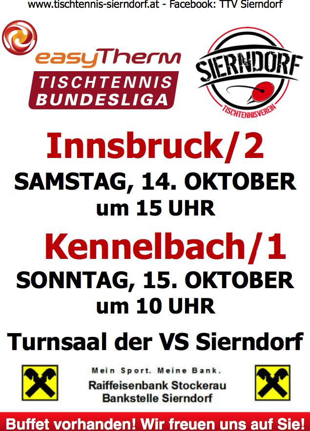 In der heurigen Saison gibt es nur ein komplettes Heimspielwochenende für Allianz Sierndorf/1. Umso mehr hoffen wir auf Ihren Besuch in Sierndorf, wenn Tomas Janci, Martin Kinslechner und Michael Kufmüller aufschlagen!