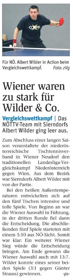 Vergleichskampf 2015 - Albert Wilder vertritt TTV Sierndorf.