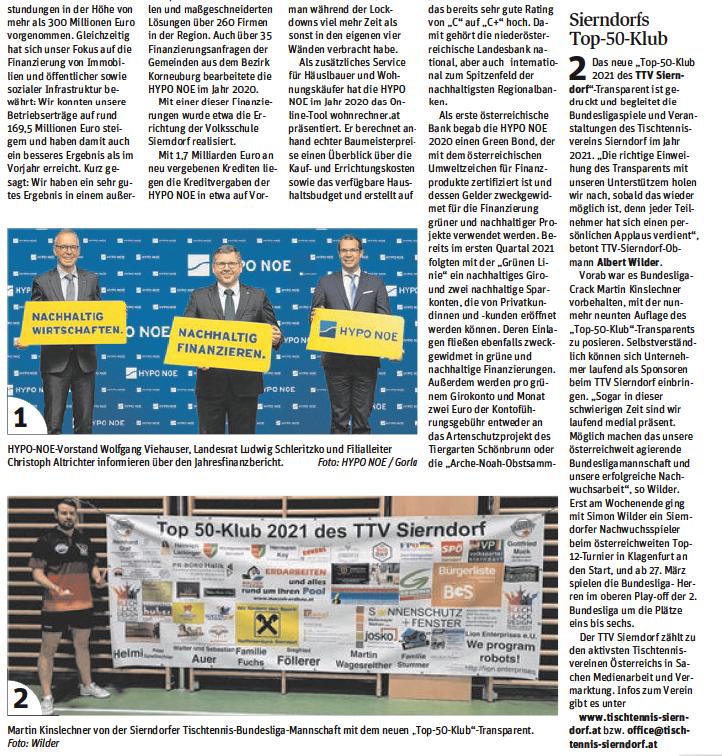 Einen großen Artikel widmete die Korneuburger NÖN der Woche 11/2021 unserem Top 50-Klub.
