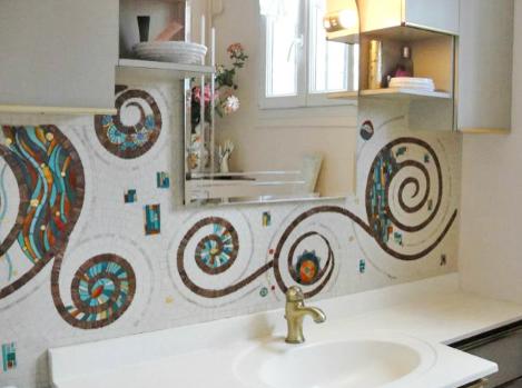 décor salle de bain ...inspiration Klimt ....commande privé