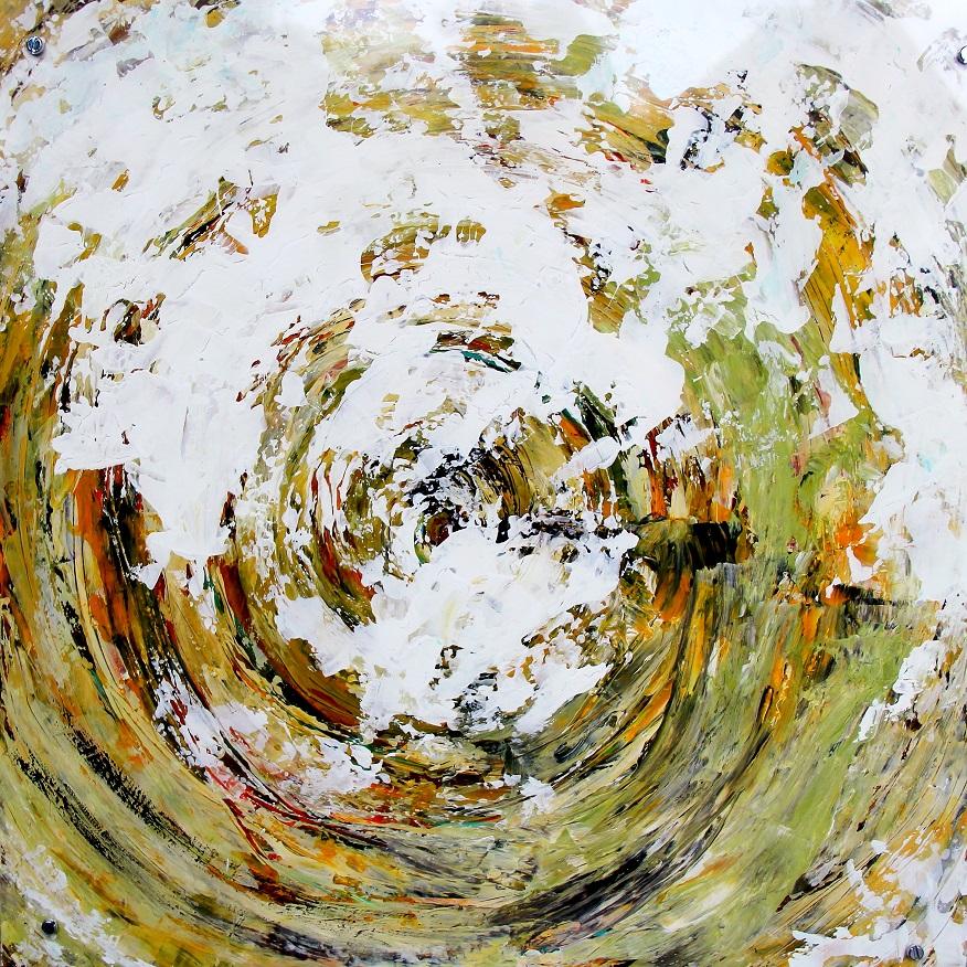 """Verwandlung 2"" Acryl auf Kunststoff hinter Acrylglas, 50 x 50 cm"