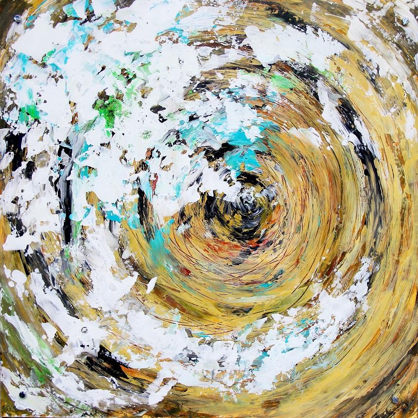 """Verwandlung 1"" Acryl auf Kunststoff hinter Acrylglas, 50 x 50 cm"