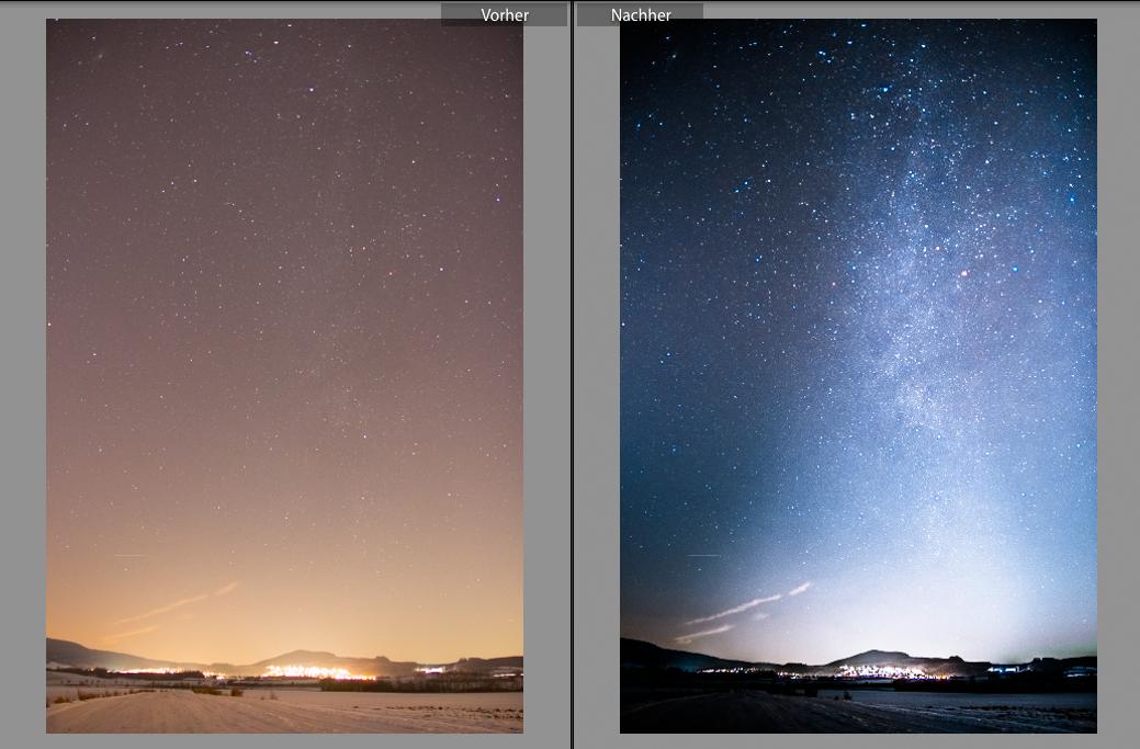 Nachthimmel: Bearbeitetes Beispiel - Vorher - Nachher