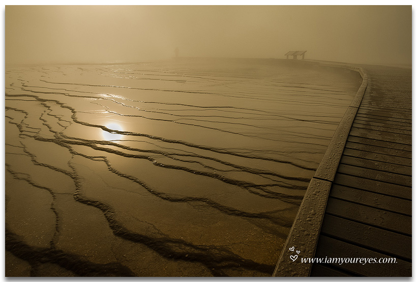 Misty Morning Sunrise, Grand Prismatic Spring