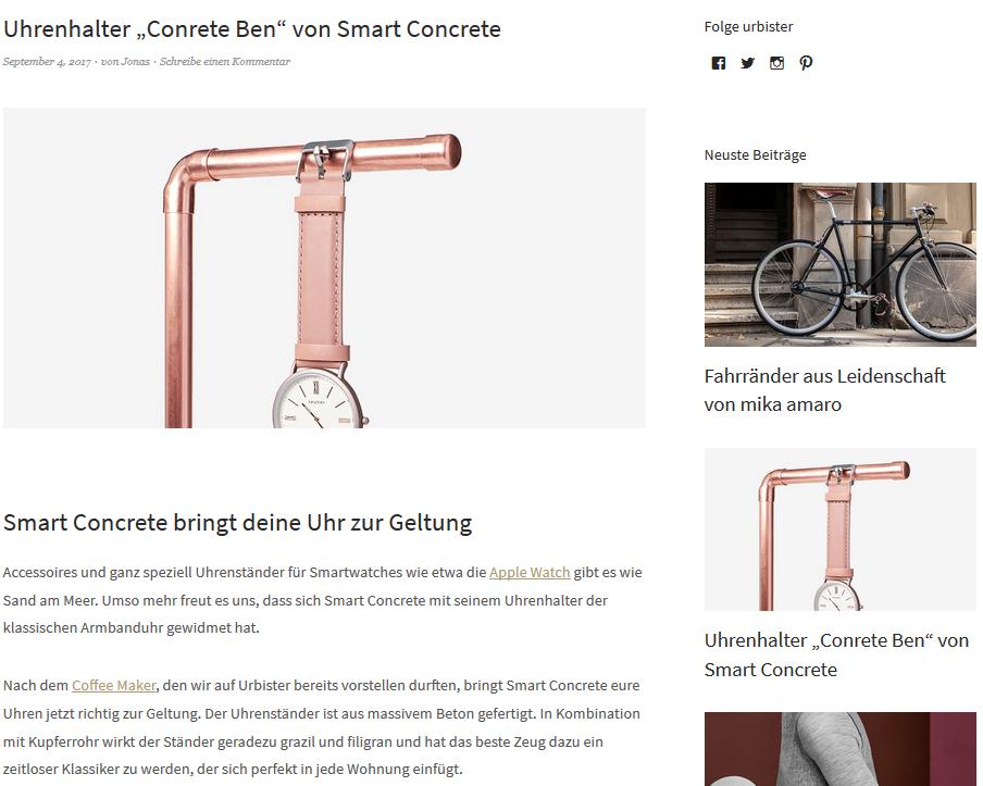 Beton Uhrenhalter von Design-Experten empfohlen, urbister.com