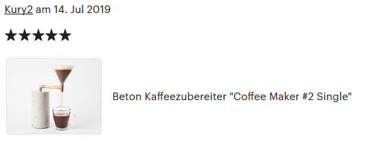Coffee Maker, 5 Sterne Kundenbewertung
