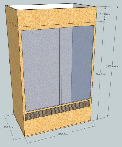 Skizze eines artgerechten Phelsuma grandis Terrarium aus OSB
