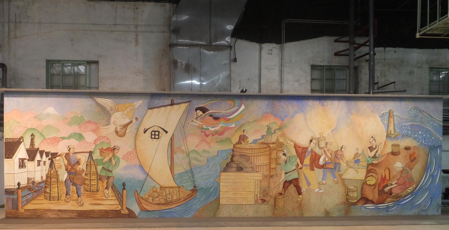 ヒゲタ醤油工場内のフレスコ画