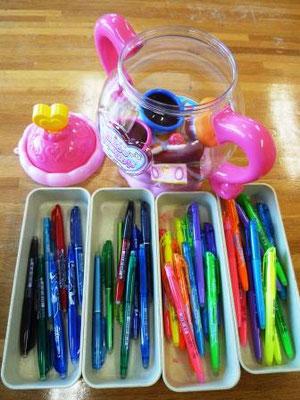 いろいろな種類のペンがありますよ。