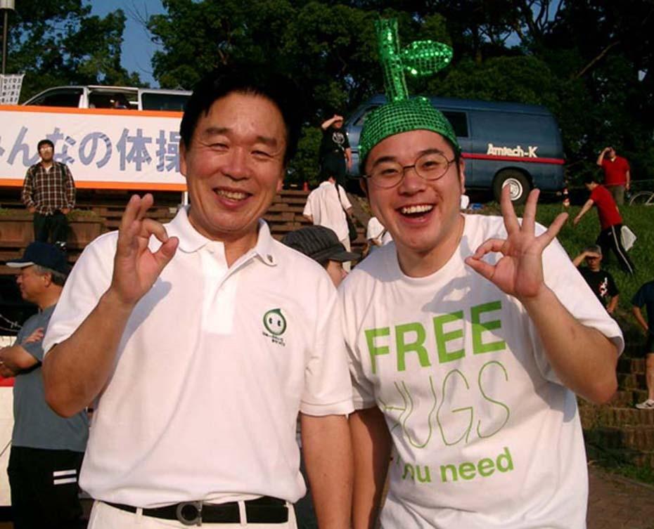 大分市長の釘宮磐さんと一緒にラジオ体操イベントにてカボッス!