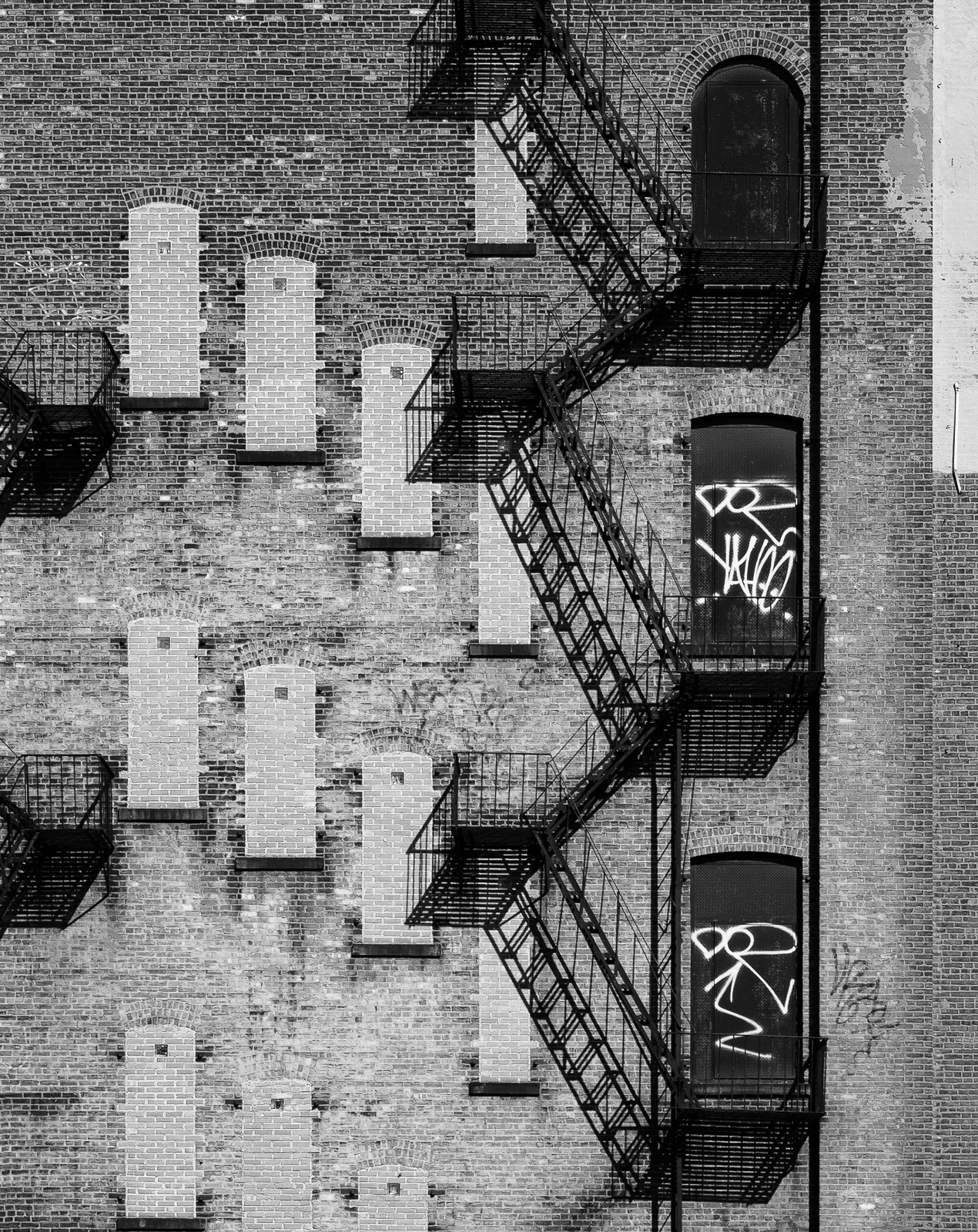 Back wall of apartment block, New York