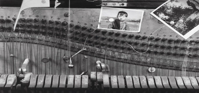 Nam June Paik's prepared piano at his Exposition of Music – Electronic Television, Galerie Parnass, Wuppertal, March 11-20, 1963