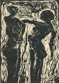 """Maciej Sienkowski """"Adam und Eva"""" Linolschnitt"""