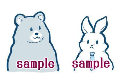 お仕事で描いたクマとウサギのイラスト