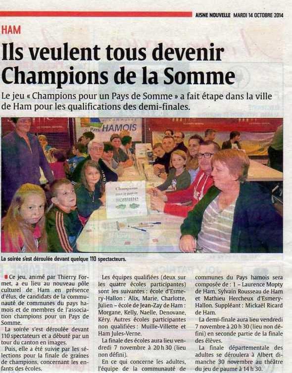 Soirée de Ham - Article de L'Aisne Nouvelle - Octobre 2014