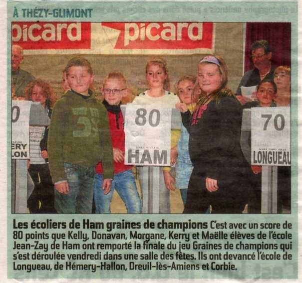 Finale Graines de Champions à Thézy Glimont - Article du Courrier Picard - Novembre 2014