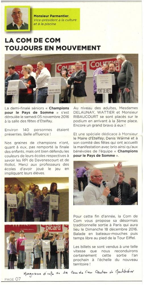 Demi-finale Etelfay - Article Communauté de communes du canton de Montdidier - Novembre 2016