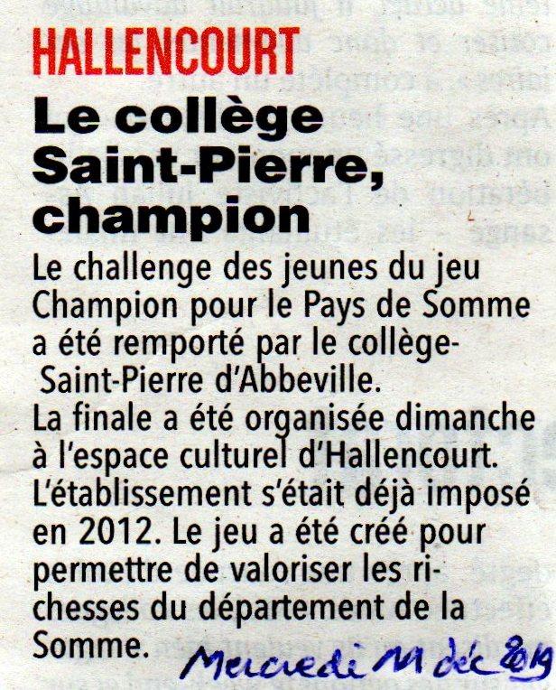 Finale d'Hallencourt - Article du Courrier Picard page régionale - 11 décembre 2019