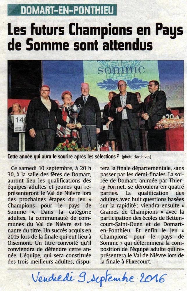 Soirée de Domart en Ponthieu - Article du Courrier Picard - Septembre 2016