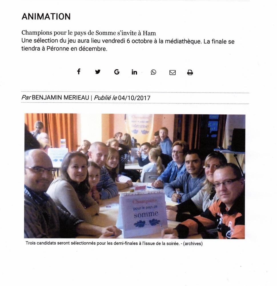 Soirée de Ham (CC Est de la Somme) - Article du Courrier Picard site internet - Octobre 2017
