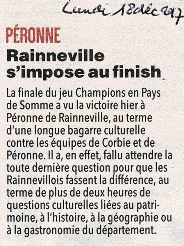 Finale de Péronne - Article du Courrier Picard page régionale - Décembre 2017