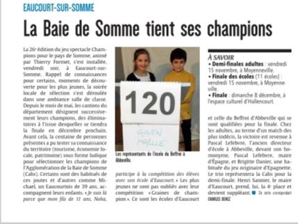 Soirée d'Eaucourt-sur-Somme - Article du Courrier Picard - Octobre 2019