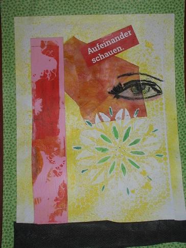 Auge drauf (Collage auf Pappe)