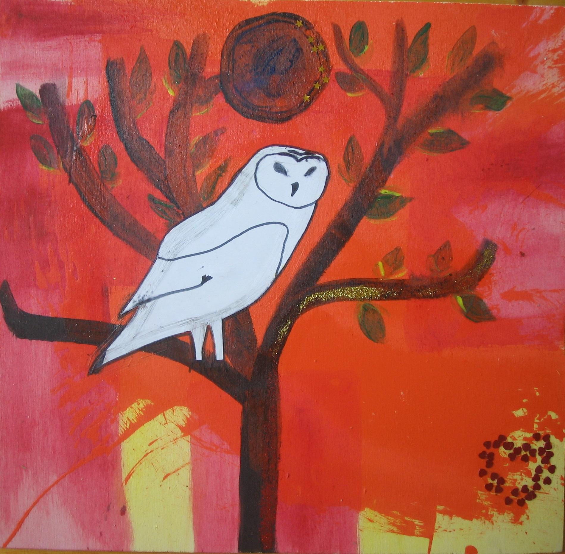 Midsummer owl (Collage auf Holz)