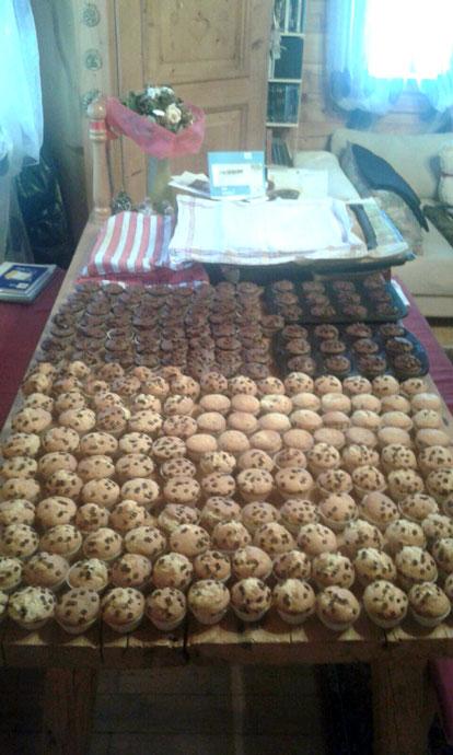 300 selbst gebackene Muffins, als Geschenk für die Kinder.
