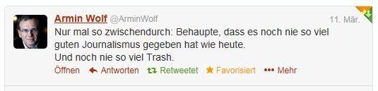 Es gab noch nie so viel guten Journalismus Twitter Armin Wolf