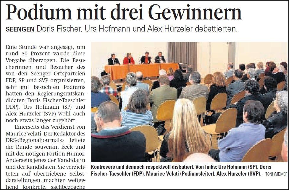 Politik ganz nah: Regierungsräte beim Volk - befragt von Maurice Velati (Aargauer Zeitung)