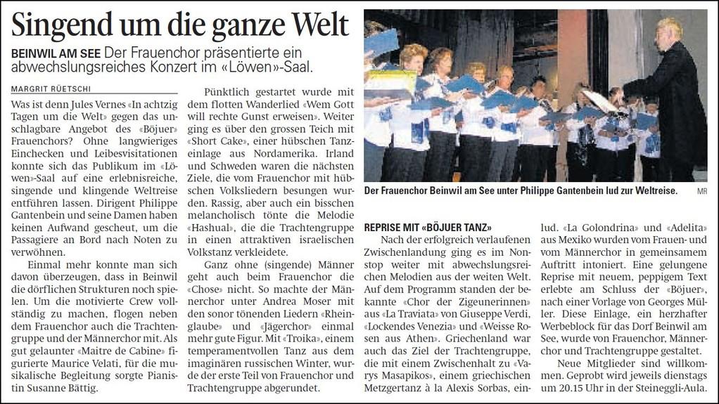 Witz und Musik: Ein ungewöhnlicher Moderationsauftrag für den Frauenchor Beinwil am See (Aargauer Zeitung)