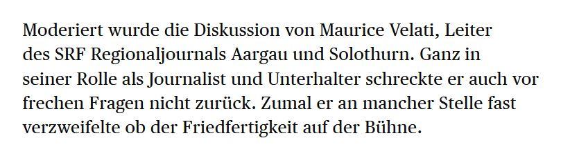 David Rutschmann (Badener Tagblatt, 04.09.2020) über das Podium in Rekingen (Gemeinderat Zurzach).