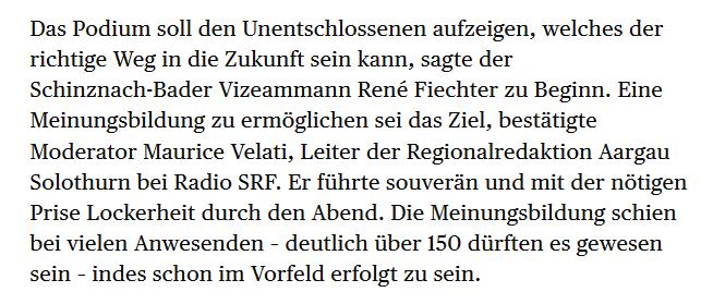 Michael Hunziker in der «Aargauer Zeitung» (24.11.2017) zum Podium in Schinznach-Bad. Danke für die Blumen!