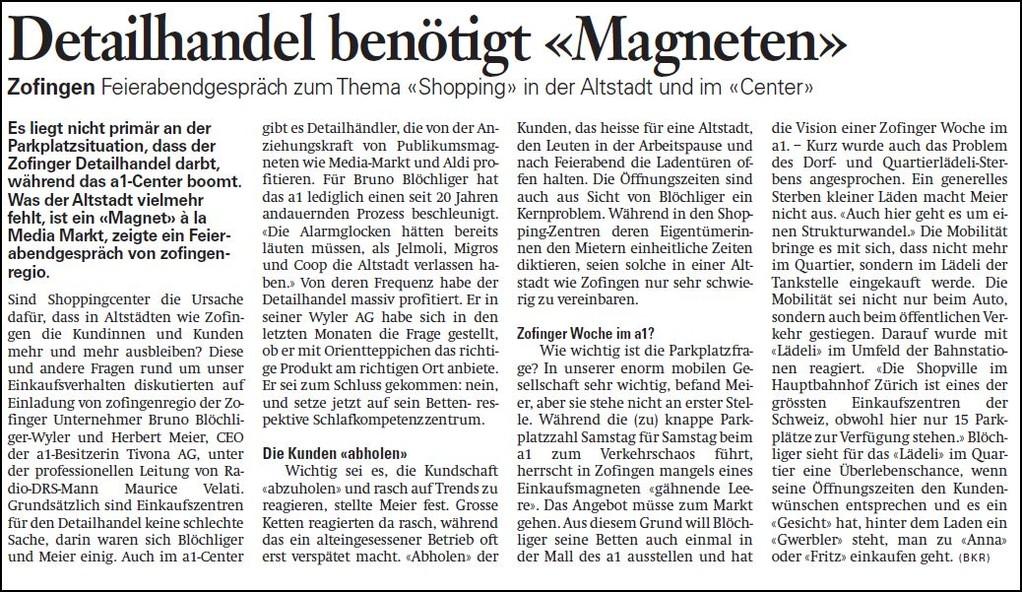 Wirtschaftspolitik ganz konkret: Geschäftsleute diskutieren über Zofingens Altstadt (Zofinger Tagblatt)