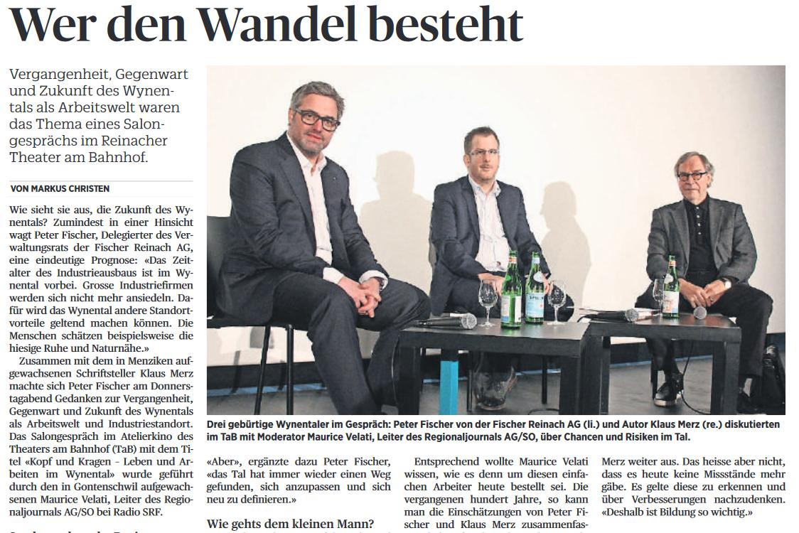 Markus Christen in der «Schweiz am Wochenende» (20.01.2018) zum Salongespräch im Theater am Bahnhof mit Unternehmer Peter Fischer und Schriftsteller Klaus Merz.