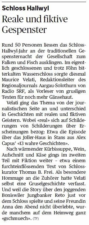 Ein aussergewöhnliches Engagement: An der Gespensternacht im Schloss Hallwyl wurde der Journalist für einmal zum fiktiven Autor (Aargauer Zeitung)
