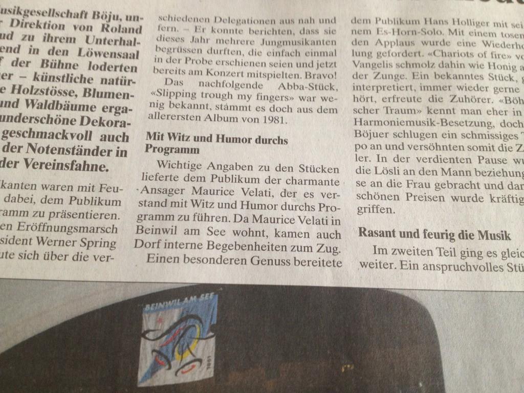 Charmant und mit Witz und Humor: Solche Worte im Wynentaler Blatt schmeicheln natürlich (WB, Oktober 2013).
