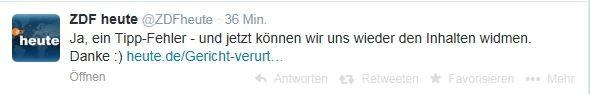 ZDF heute Tweet mit Entschuldigung zum Tippfehler