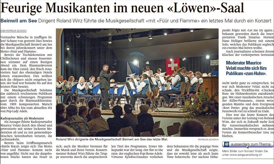 Journalist als Huhn: Für die Musikgesellschaft mache ich mich auch mal zum Affen... oder eben Huhn (Aargauer Zeitung, Oktober 2013)