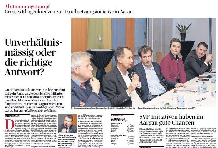 Moderator im politischen Minenfeld: Eine lebhafte Diskussion zur DSI (Aargauer Zeitung, Februar 2016)