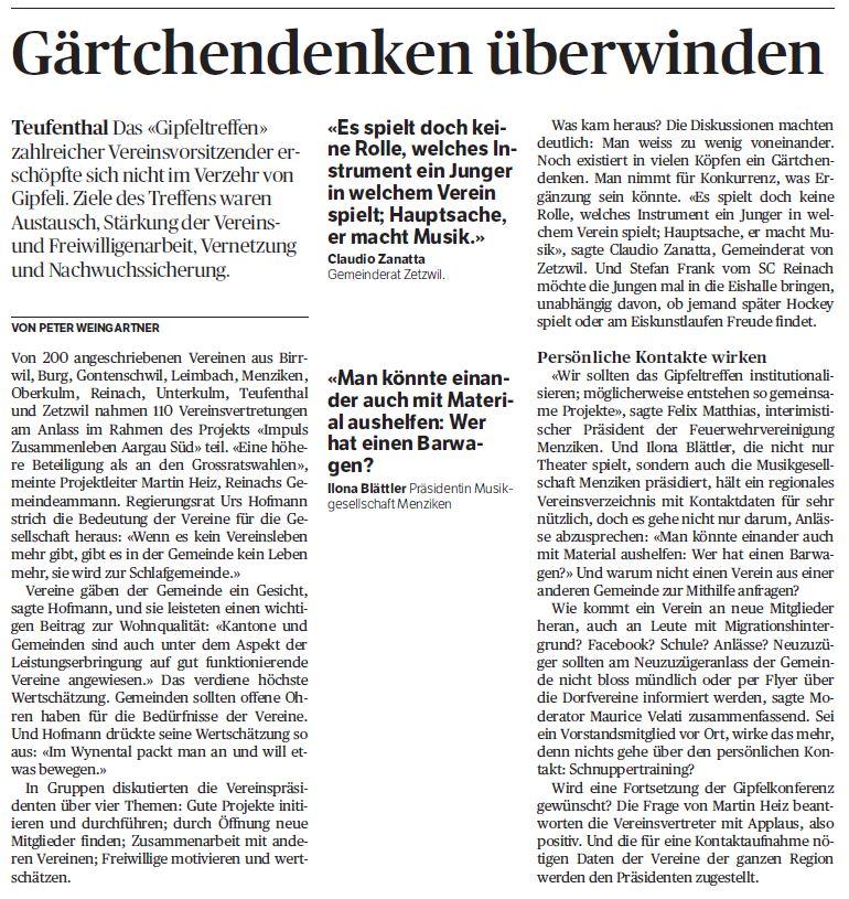Als Moderator versucht man hier, die gesammelten Erkenntnisse aus Gruppendiskussionen im Plenum auf den Punkt zu bringen. (Aargauer Zeitung, 7.11.2016)