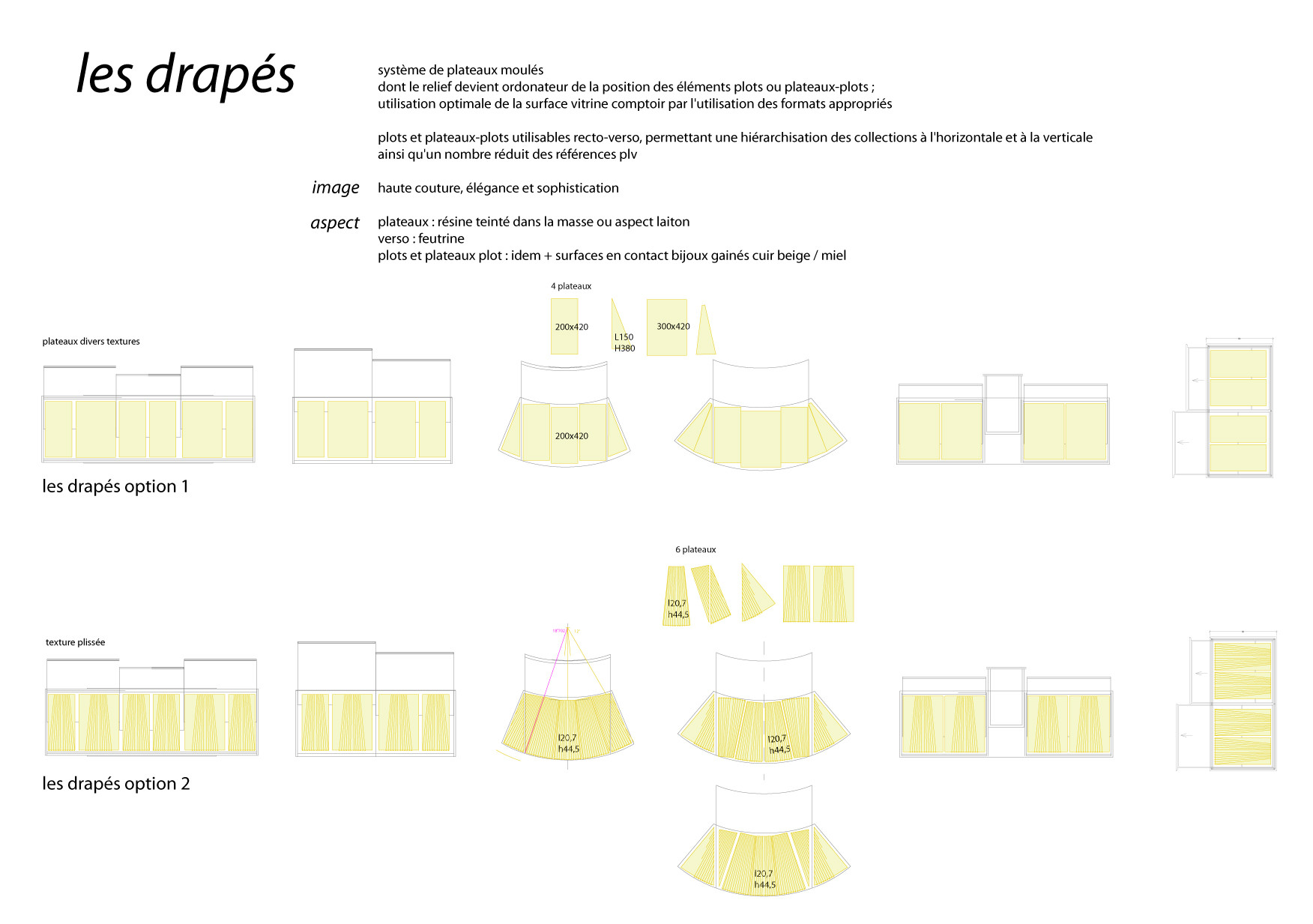 PLV boutique Cartier, de l'étude au prototype / optimisation de nombre de références PLV, fonctionnalités de présentation contenues dans des formes symboliques