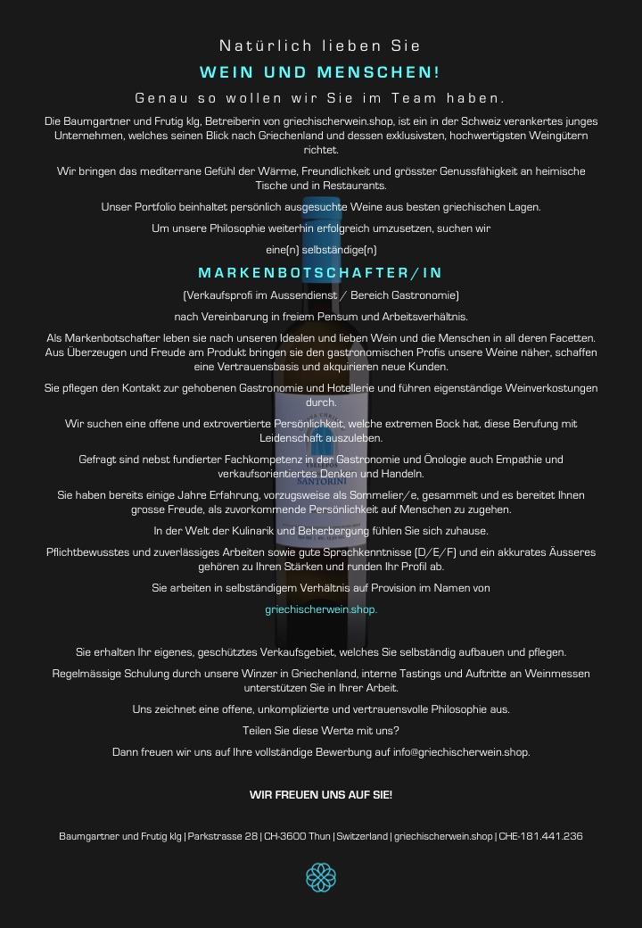 Wein; Weine; kaufen; bestellen; Versand; Sommelier; Degustation; Winetasting; Wine and Dine; Wineporn; Winepairing; foodpairing; Online; Bio; Trend; Vegan; beste; bester; Parker; Stelle; Job; markenbotschafter; Aussendienst; Erfolg; Arbeit; arbeiten; WSET
