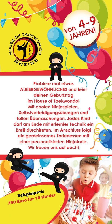 Kinder, Jugendliche, Taekwondo, Karate, Geburtstag Rheine, Party, Ninja, in Rheine