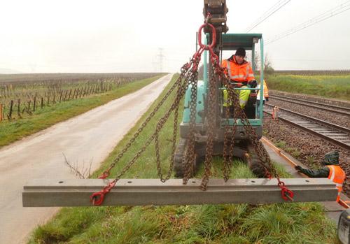 Pose de protection en béton sur les voies ferrées