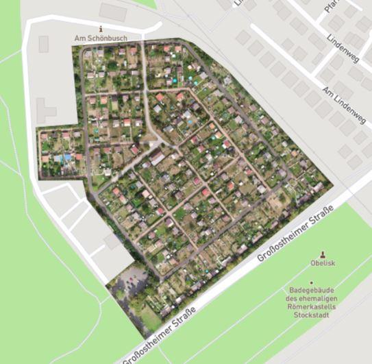 Orthofoto Kleingarten Aschaffenburg in Google eingebunden