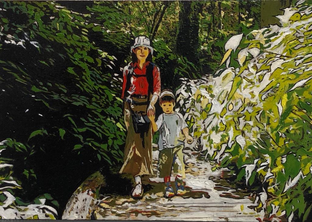 第8回 サムホール展静岡 市民賞 藤原真一 「木漏れ日の散策」