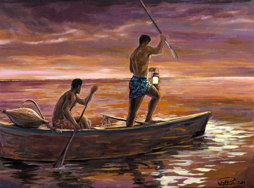 N°23 Pêche à la lanterne 35x47 HST